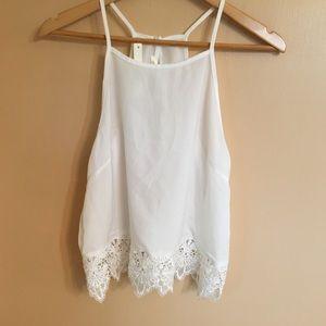 Boutique white lace trim crop tank top S